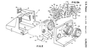Polaroid camera – patent drawings visualise the invention and have artistic merit. Photo: Espacenet