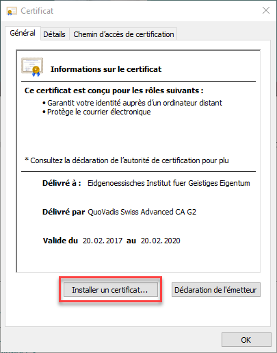Capture d'écran : Installer le certificat